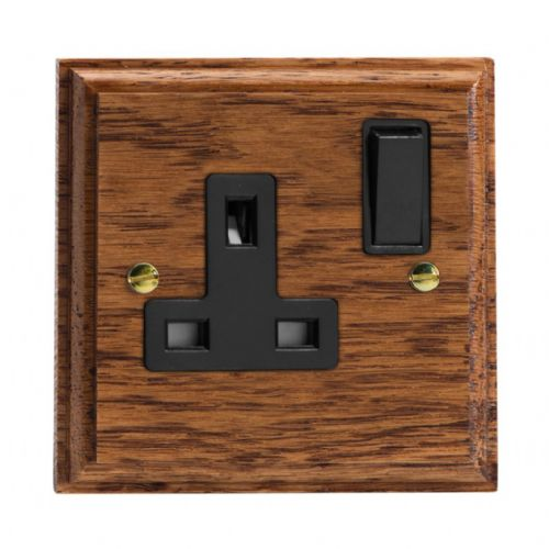 Varilight XK4MOB Kilnwood Medium Oak 1 Gang 13A DP Single Switched Plug Socket